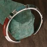 Cuff Bracelet, Chtysocolla, Lapis, Organic Sterling Silver handmade by Bowman Originals, Sarasota, 941-302-9594