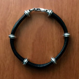 Double Leather Cord Bracelet with Sterling Silver Couplings | Bowman Originals, Call or text: 941-302-9594.