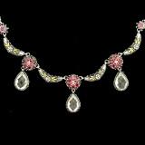Handmade Necklace, Rhodolite Garnets, White Topaz, Enamel, Silver, Gold | Bowman Originals, 941-302-9594