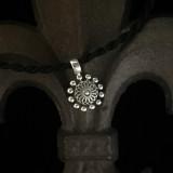 Beaded Sterling Silver Flower Pendant on Silk Cord handmade by Bowman Originals, Sarasota, 941-302-9594