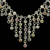 Large Bib Necklace, Sterling Silver, Multi Gemstone, Bowman Originals, Sarasota