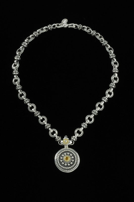 Sun Dial Necklace, handmade links, Sterling Silver, 18 k Gold by Bowman Originals, Sarasota, 941-302-9594.
