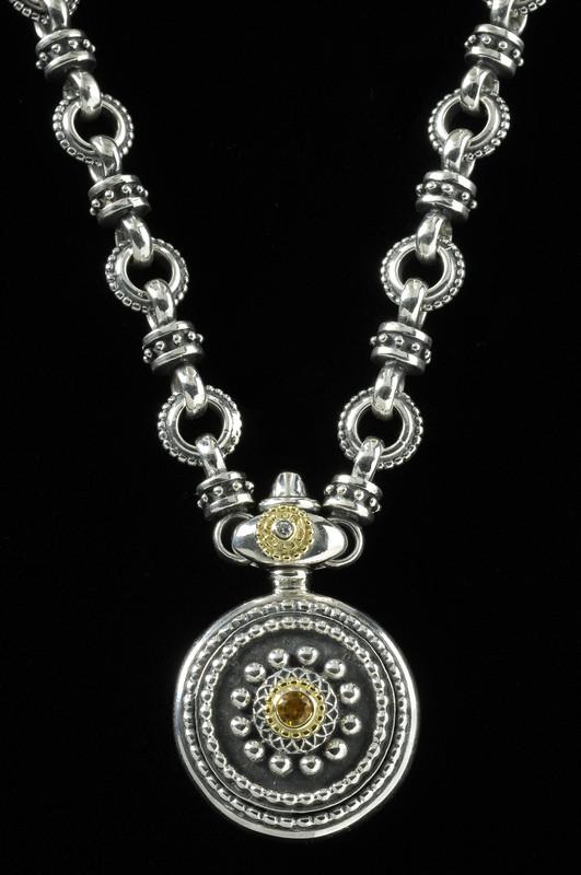 Sun Dial Necklace, Sterling Silver, 18 k Gold, Citrine, handmade | Bowman Originals, Sarasota, 941-302-9594.