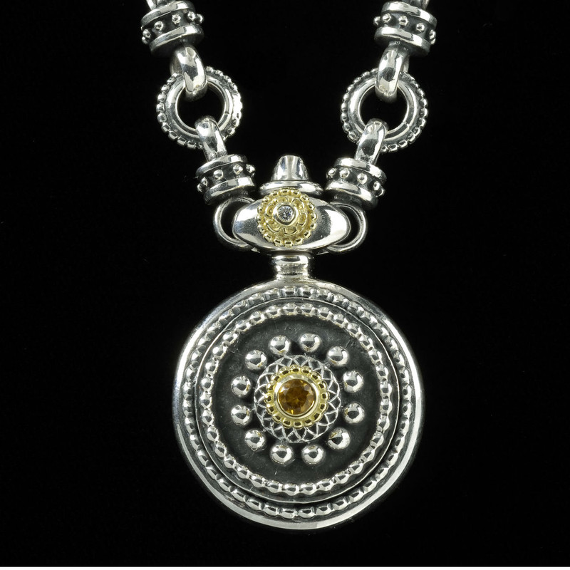 Sun Dial Necklace, Sterling Silver, 18 k Gold, Citrine handmade by Bowman Originals, Sarasota, 941-302-9594.