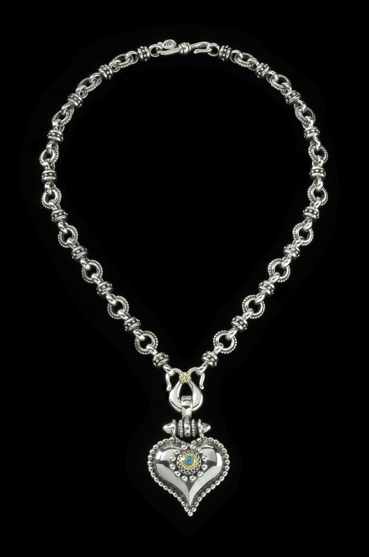 Heart Necklace, Sterling Silver links with 18 K Gold and Blue Topaz handmade by Bowman Originals, Sarasota, 941-302-9594