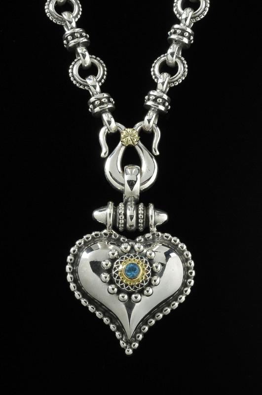 Heart Necklace, Sterling Silver, 18 K Gold, Blue Topaz, handmade by Bowman Originals, Sarasota, 941-302-9594