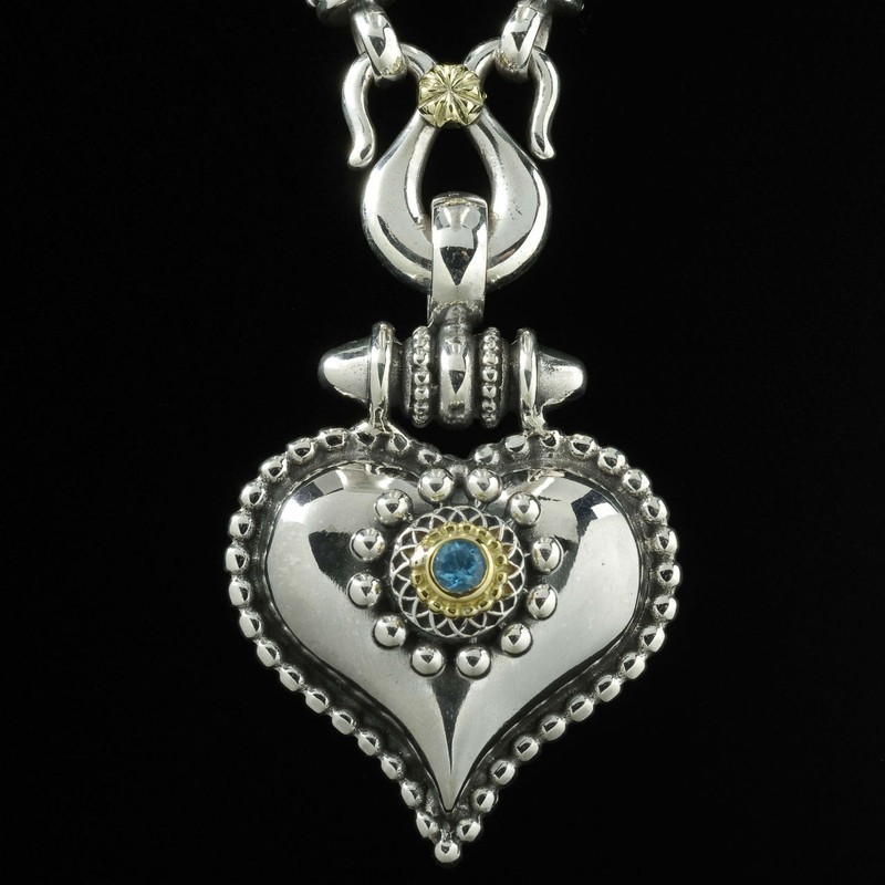 Handmade Sterling Silver Heart Necklace with 18 K Gold and Blue Topaz by Bowman Originals, Sarasota, 941-302-9594