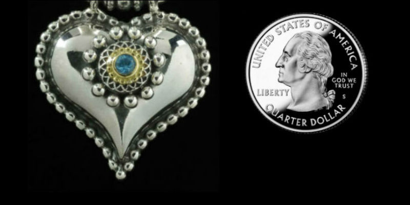 Heart Necklace pendant handmade in Sterling Silver, 18 K Gold and Blue Topaz by Bowman Originals, Sarasota, 941-302-9594