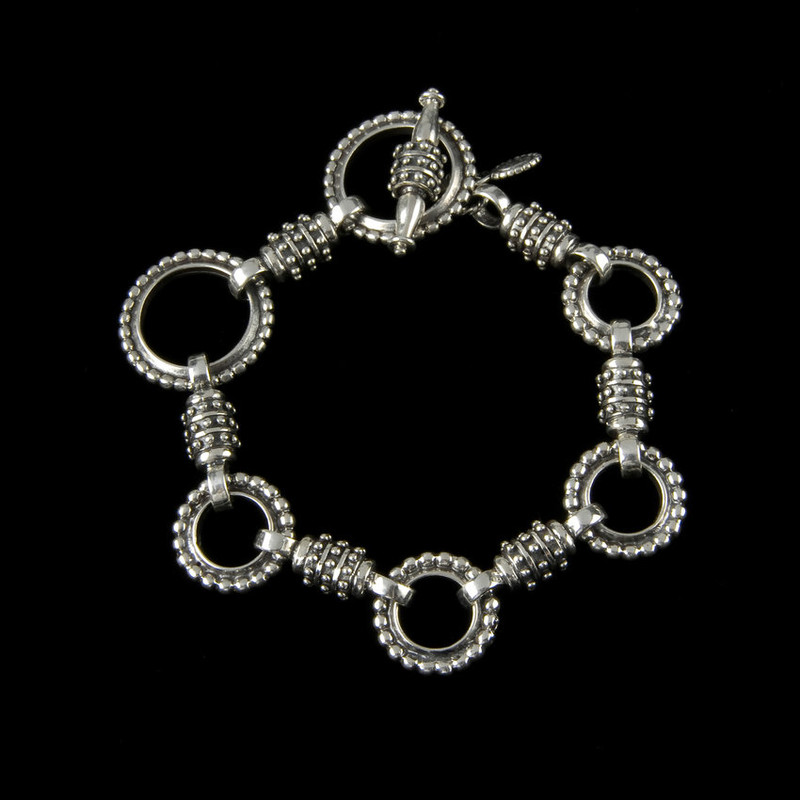 Zeus Bracelet links in Sterling Silver with toggle clasp by Bowman Originals,  Sarasota, 941-302-9594