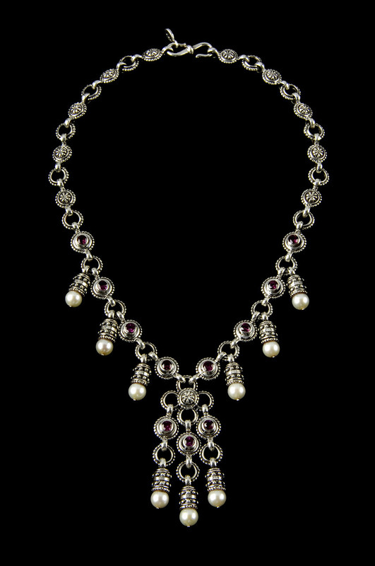 Nine Pearl and Rhodolite Garnet link necklace handmade in Sterling Silver b y Bowman Originals, Sarasota, 941-302-9594