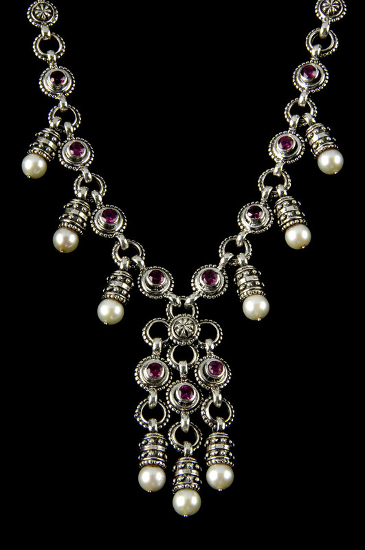 Nine Pearl and Rhodolite Garnet Sterling Silver  custom necklace handmade by Bowman Originals, Sarasota, 941-302-9594