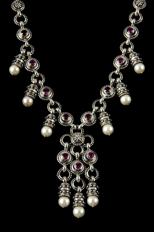 Nine Pearl and Rhodolite Garnet Sterling Silver  custom necklace handmade by Bowman Originals, Sarasota, 941-302-9594