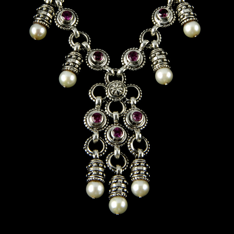 Nine Pearl and Rhodolite Garnet Silver necklace  by Bowman Originals, Sarasota, 941-302-9594
