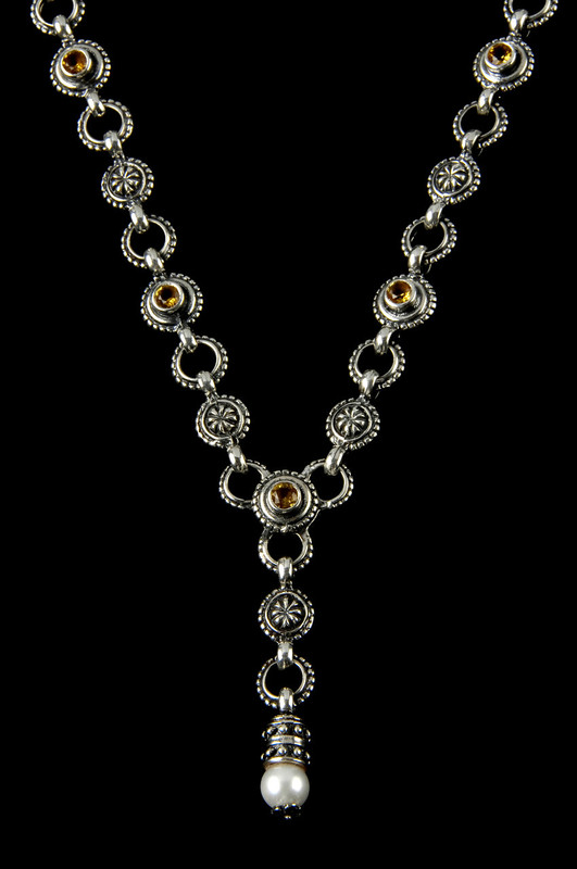 """Y"" Necklace handmade in Sterling Silver with Citrine  and Pearl by Bowman Originals, Sarasota, 941-302-9594"