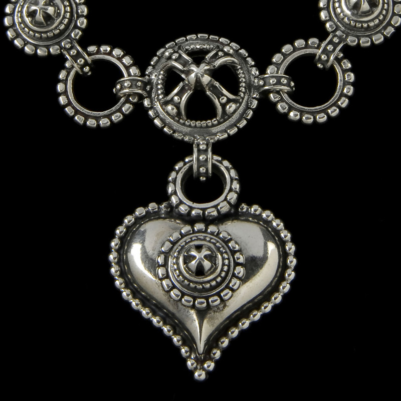 """Chili"" Heart Necklace Pendant handmade in Sterling Silver by Bowman Originals, Sarasota, 941-302-9594"
