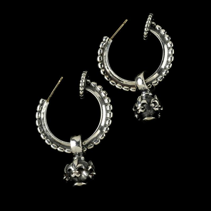 Hoop Earrings with Fleur de Lis Globes in handmade Sterling Silver by Bowman Originals, USA