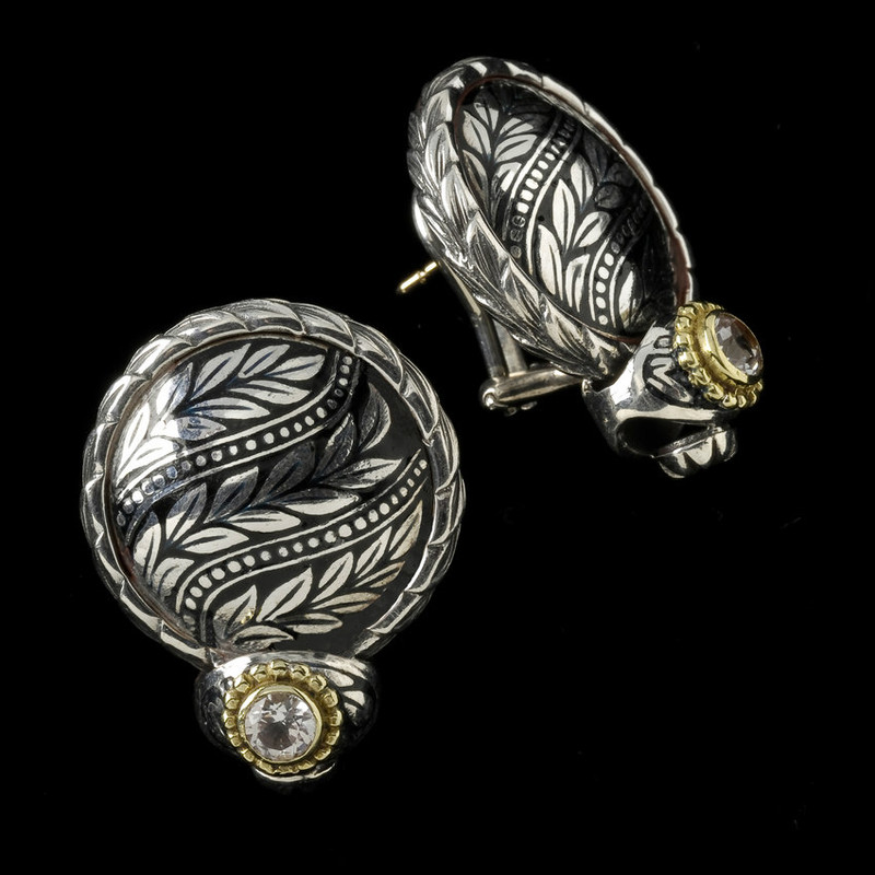 Laurel Leaf Earrings, Silver, Gold, Black Enamel, White Topaz handmade by Bowman Originals, Sarasota, 941-302-9594