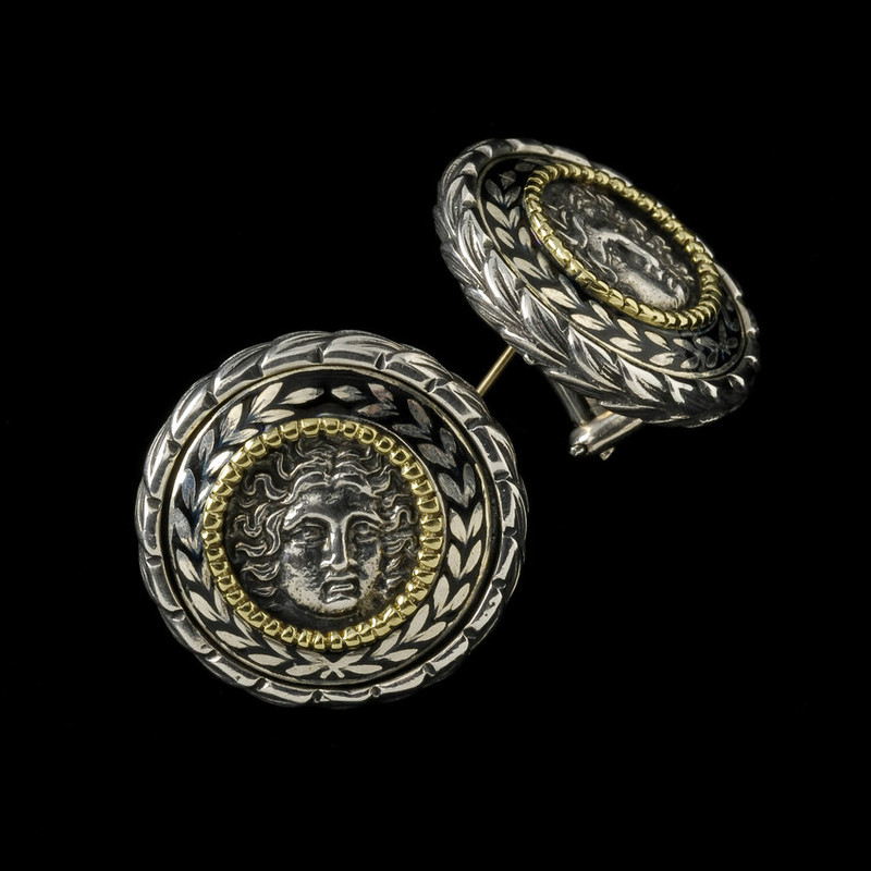 Helios Earrings custom handmade in Sterling Silver and 18 k Gold with Enamel by Bowman Originals, USA