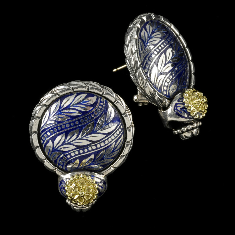 Beautiful hand crafted silver, gold and enamel earrings. Handmade by artisan silversmith Ned Bowman of Bowman Originals Jewelry in Sarasota, Florida.