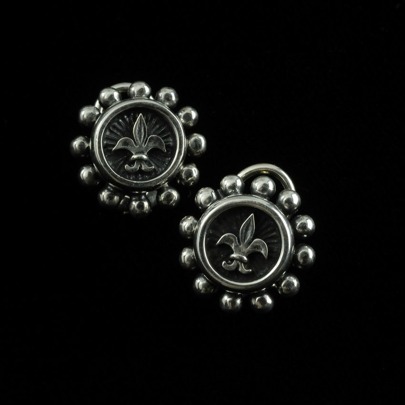 Fleur de Lis Earrings in Sterling Silver with gold post and Omega backs by Bowman Originals, USA