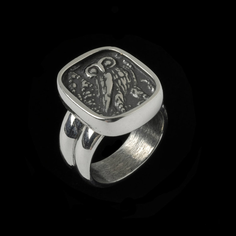 Athena Owl Ring handmade in Sterling Silver by Bowman Originals, Sarasota, 941-302-9594