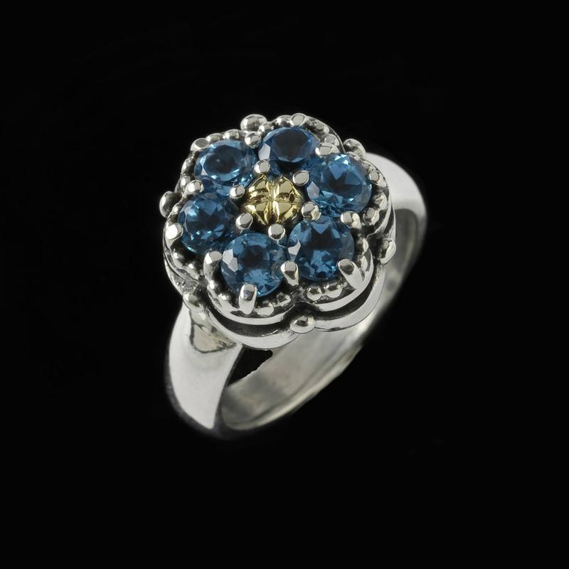 Cluster Blue Topaz Ring, Silver, Gold and Blue Topaz by Bowman Originals, Sarasota, 941-302-9594