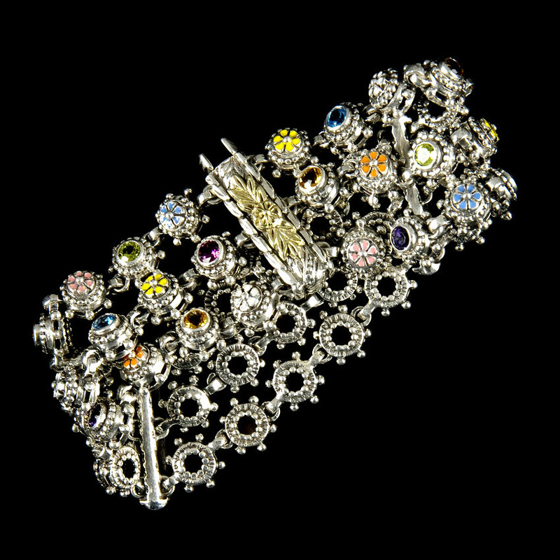 Three Row Bracelet  handmade in Sterling Silver with Enamel and Gemstones by Bowman Originals, USA