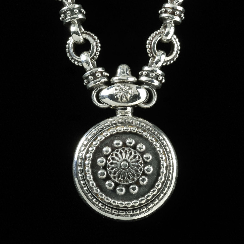 Sundial Necklace, handmade, Sterling Silver, by Bowman Originals, 941-302-9594