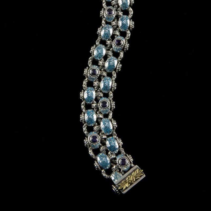 Laurel Leaf Bracelet, Two Row version in Silver, Gold, Enamel and Blue Topaz by Bowman Originals, Sarasota, 941-302-9594