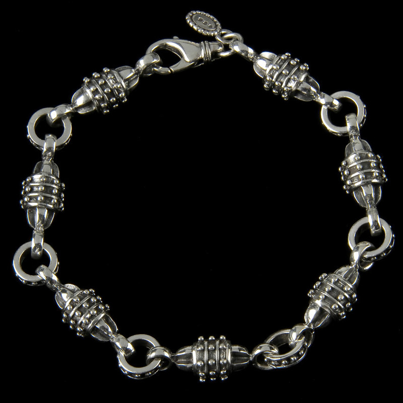 Hercules Bracelet, handmade links, Sterling Silver by Bowman Originals, Sarasota, 941-302-9594.