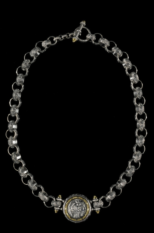 Athena Necklace link chain custom engraved in Sterling Silver and 18 K Gold by Bowman Originals, Sarasota, 941-302-9594