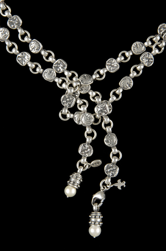 Lion Belt in Sterling Silver with detachable Pearl pendants by Bowman Originals, Sarasota, 941-302-9594