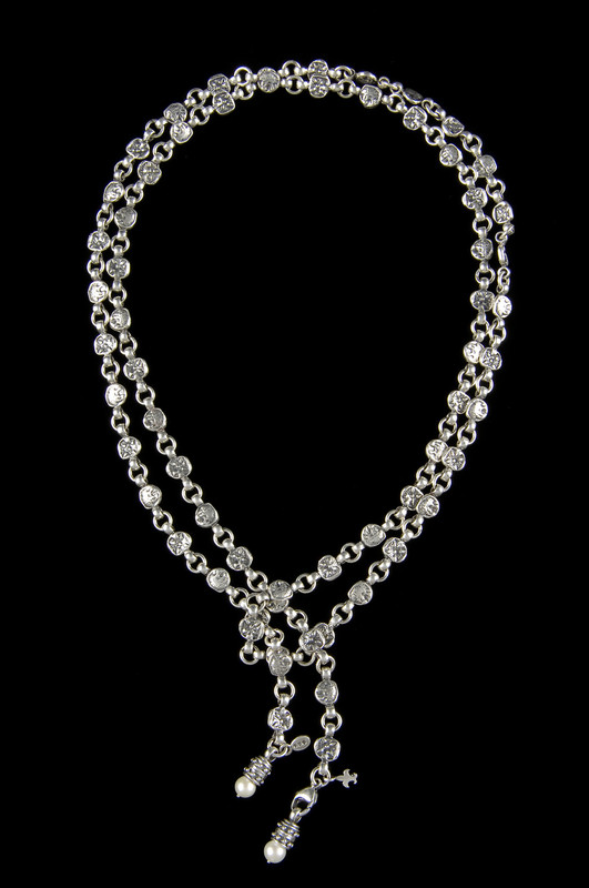 Lariat style Lion Belt Necklace in Sterling Silver by necklace with detachable pearl pendants handmade by Bowman Originals, Sarasota, 941-302-9594