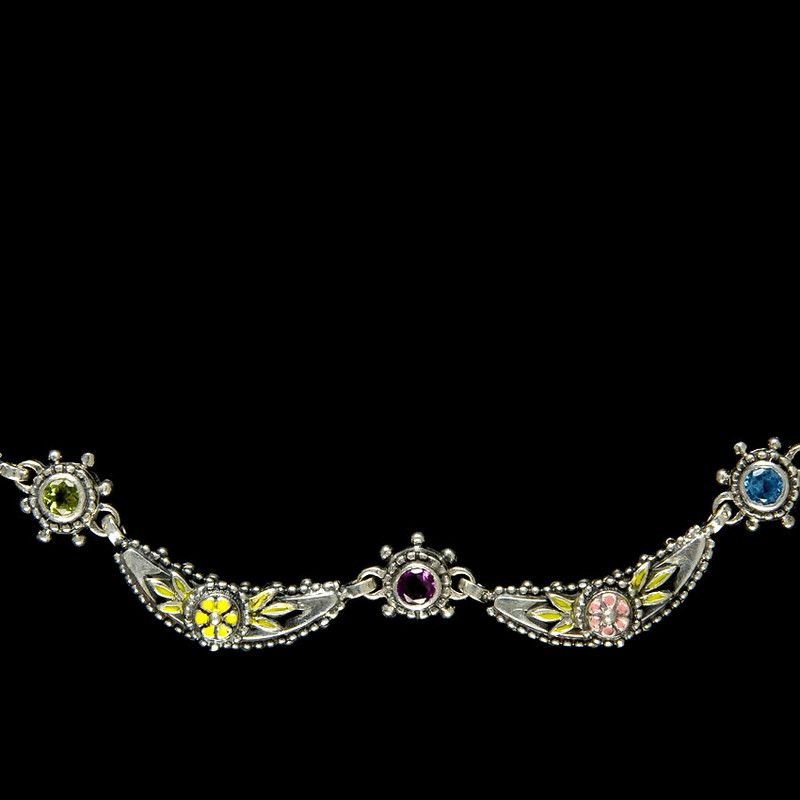 Wildflower  Crescent Necklace details in Sterling Silver, Gemstones, Enamel by Bowman Originals, 941-302-9594