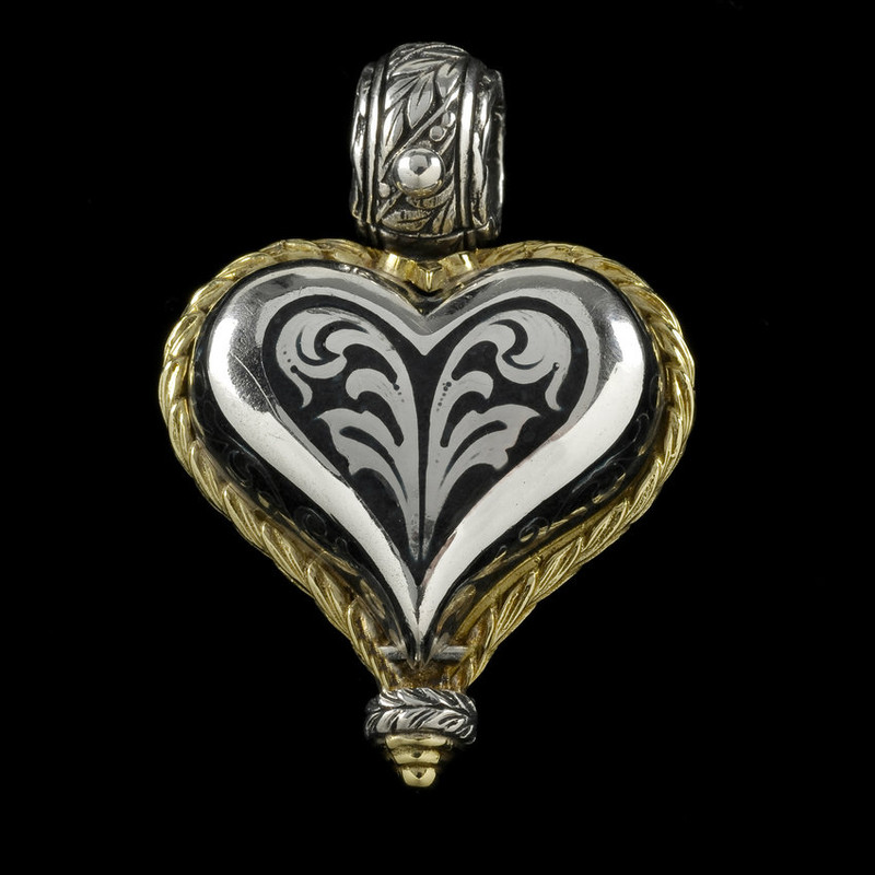 Heart Pendant, handmade, engraved, Sterling Silver, 18 k Gold, Jet Black Enamel by Bowman Originals, Sarasota, 941-302-9594