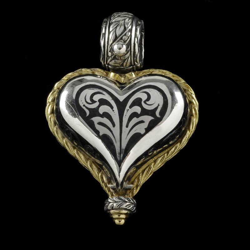 Heart Pendant, handmade, engraved, Sterling Silver, 18 k Gold, Jet Black Enamel by Bowman Originals, Sarasota, 941-302-9594