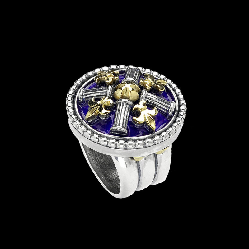 Fleur de lis Ring. Silver, Gold by Bowman Originals. USA