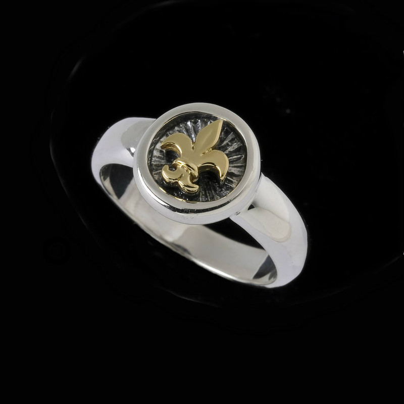 Fleur de Lis Ring, Sterling Silver and 18 k Gold handmade by Bowman Originals, Sarasota, 941-302-9594.