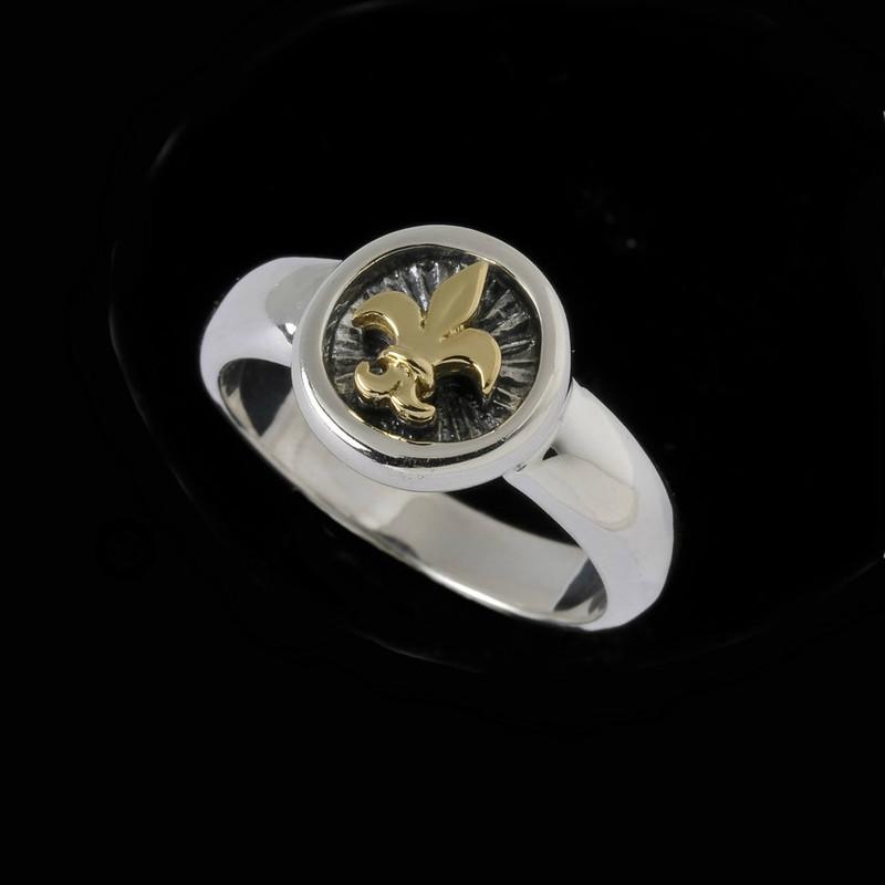 Fleur de Lis Ring, Sterling Silver and 18 k Gold handmade by Bowman Originals, Sarasota, 941-302-9594.