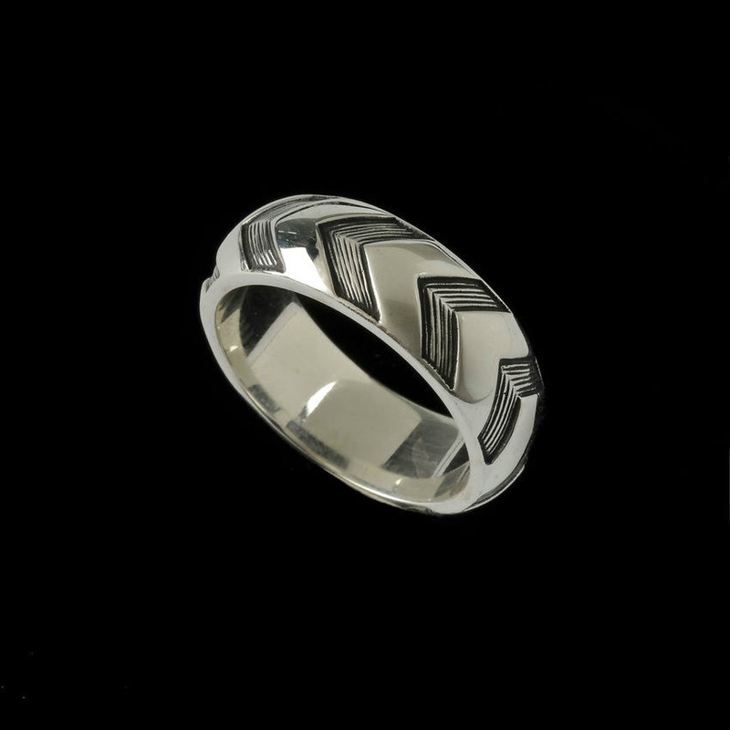 Chevron Wedding Ring Band, Sterling Silver,  unique custom engraved by Bowman Originals, Sarasota, 941-302-9594