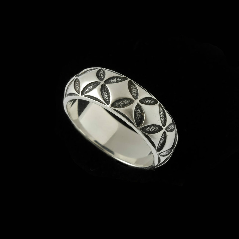 Mosaic Wedding Ring Band engraved in Sterling Silver by Bowman Originals, Sarasota, 941-302-9594.