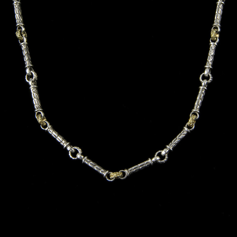 Engraved custom Harvest link chain necklace handmade in sterling silver by Bowman Originals, Sarasota, 941-302-9594