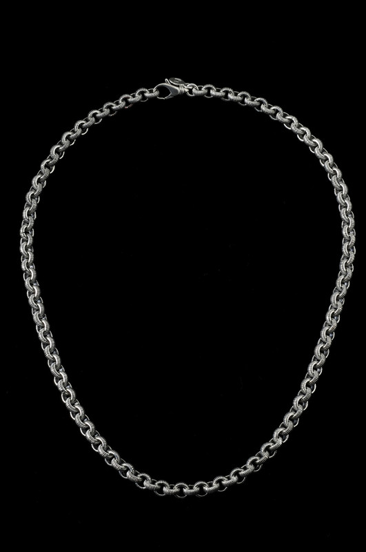 Serrated Chain, silver engraved chain necklace by Bowman Originals, Sarasota, 941-302-9594
