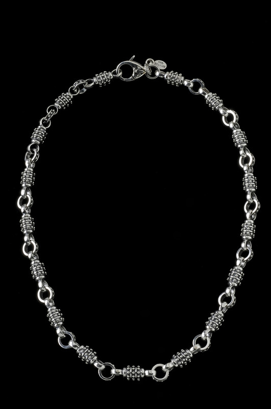 Thor Chain, silver beaded link chain by Bowman Originals, Sarasota, 941-302-9594