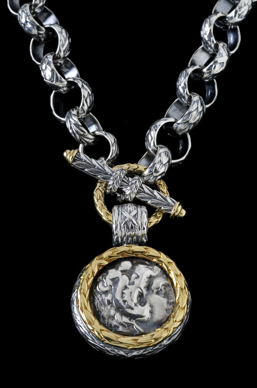 Alexander the Great Necklace engraved handmade in Sterling Silver and 18 K Gold by Bowman Originals, Sarasota, 941-302-9594