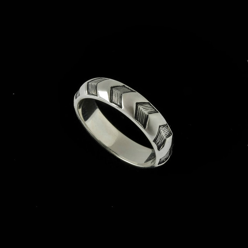 Chevron Wedding Ring Band, silver, narrow | Bowman Originals