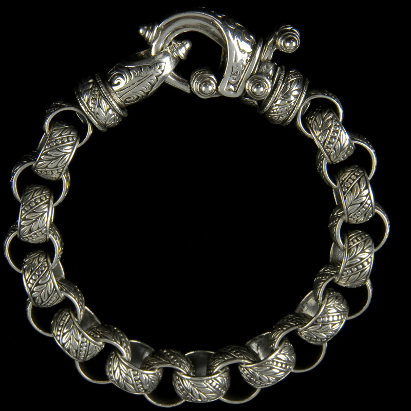 "Laurel Leaf ""Hook"" Bracelet, engraved Sterling Silver by Bowman Originals, Sarasota, 941-302-9594."