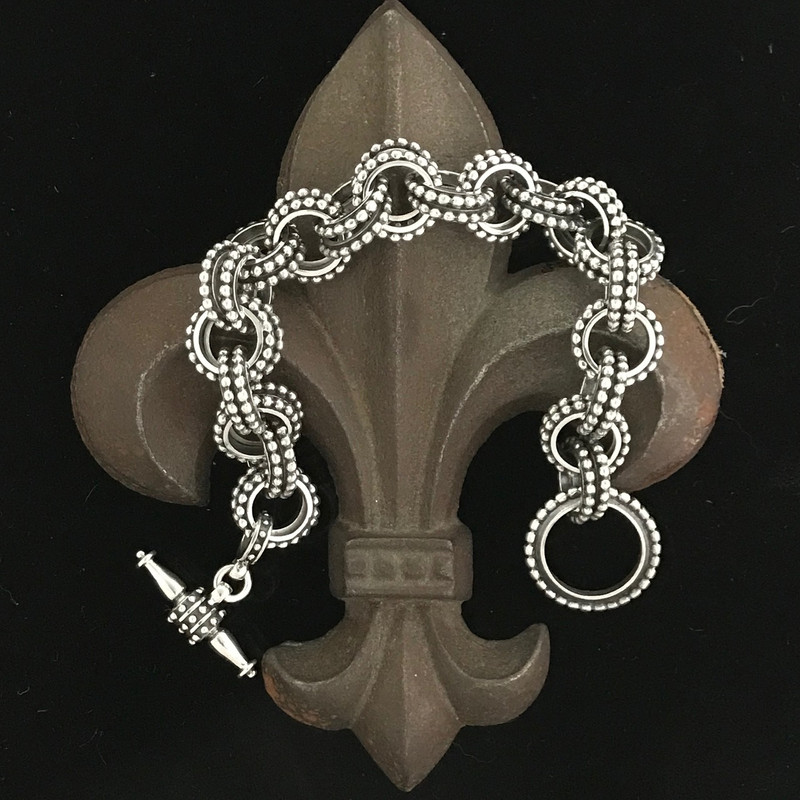 Handmade link bracelet in Sterling Silver by Bowman Originals, Sarasota, 941-302-9594.