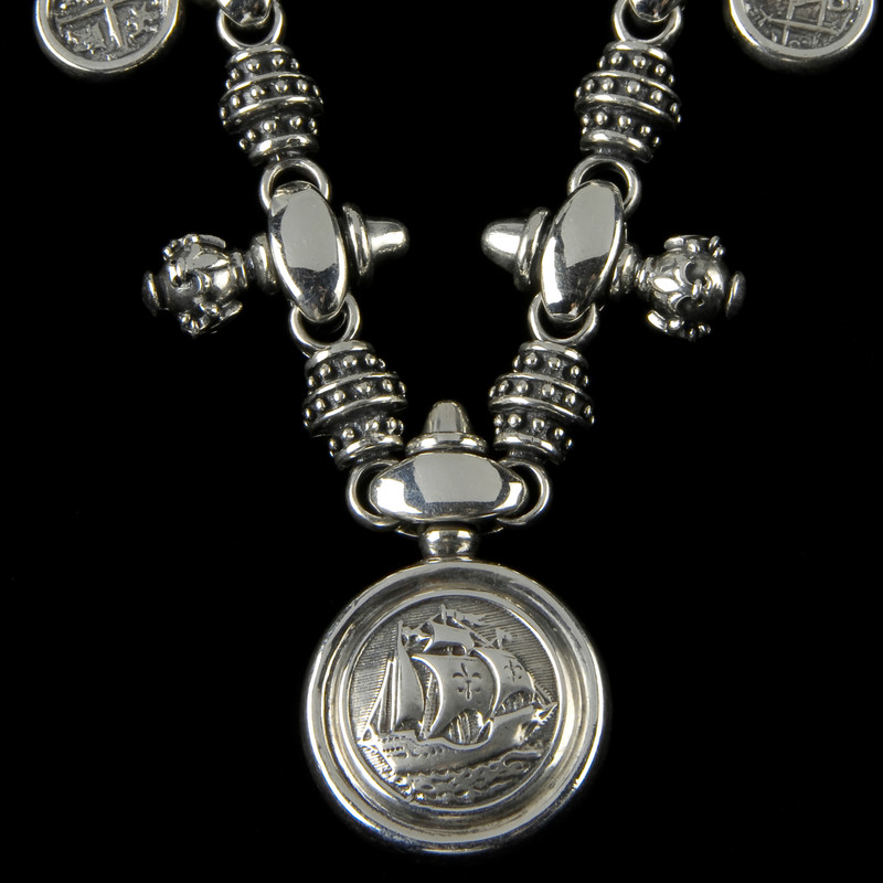 Handmade Galleon Necklace in Sterling Silver by Bowman Originals, Sarasota, 941-302-9594.