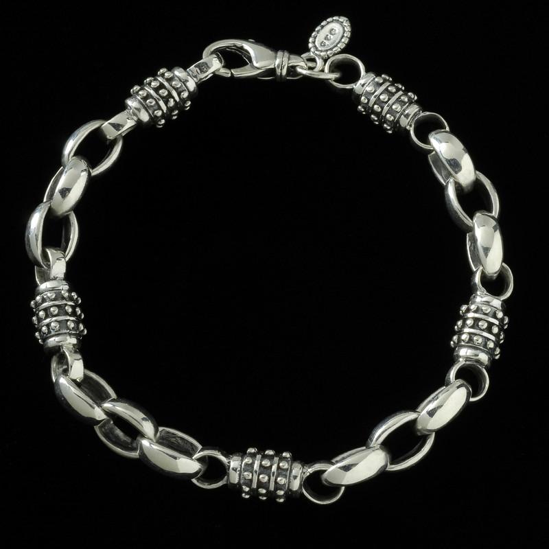 Achilles Bracelet, Sterling Silver, handmade links   Bowman Originals, Sarasota, 941-302-9594